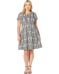 Adrianna Papell - Plus Size Watercolor Spots Fit-and-flare Dress - Lyst