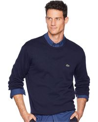 Lacoste - Long Sleeve Half Moon Crew Neck Jersey Sweater (black/flour/black) Men's Sweater - Lyst
