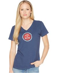 Life Is Good. - Lig Coin Crusher Vee (darkest Blue) Women's T Shirt - Lyst