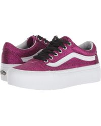 d253448de5cb Lyst - Vans The Women s Old Skool Platform In Checkerboard Black And ...