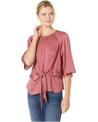 Vince Camuto - Bell Sleeve Tie Front Keyhole Hammer Satin Blouse (berry Creme) Women's Blouse - Lyst