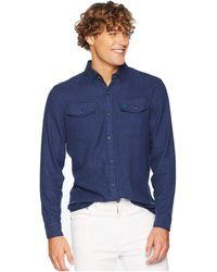 Original Penguin - Long Sleeve Jasper Flannel - Stretch Shirt (classic Blue) Men's Clothing - Lyst