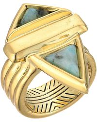 House of Harlow 1960 - Pyramid Stone Ring (gold/kiwi) Ring - Lyst