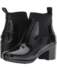 HUNTER - Refined Mid Heel Gloss Rain Boots (black) Women's Rain Boots - Lyst