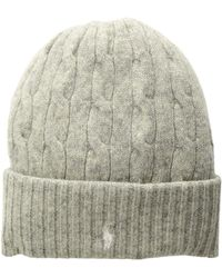 Polo Ralph Lauren - Wool Cashmere Classic Cable Cuff Hat (light Vintage Heather) Beanies - Lyst