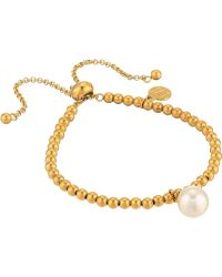Majorica - 10mm Round Pearl On Gold Plated Steel Beaded Bracelet 6.5-11 (white) Bracelet - Lyst