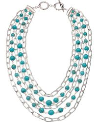"Lauren by Ralph Lauren - Turquoise Multi Row Necklace 18"" - Lyst"