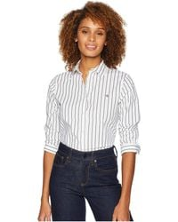 Lauren by Ralph Lauren - No-iron Button Down Shirt (white/black) Women's Clothing - Lyst