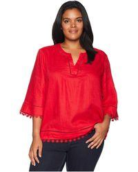 Lauren by Ralph Lauren - Plus Size Lace-trim Tissue Linen Top (lipstick Red) Women's T Shirt - Lyst