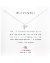 Dogeared - Life Is Beautiful Hummingbird Reminder (silver) Necklace - Lyst