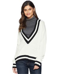 Bishop + Young - Varsity V-neck Top (ivory) Women's Long Sleeve Pullover - Lyst