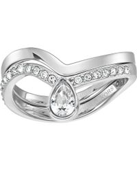 Michael Kors - Brilliance Powerful Romance Pave Double Stack Ring (silver) Ring - Lyst