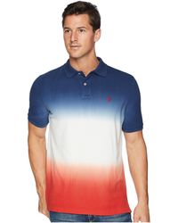 Polo Ralph Lauren - Dip-dyed Pique Polo (dark Cobalt/white/red Beret) Men's Clothing - Lyst
