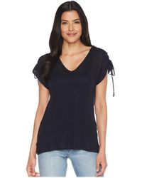 Two By Vince Camuto - Drawstring Shoulder V-neck Linen Tee (dark Navy) Women's T Shirt - Lyst