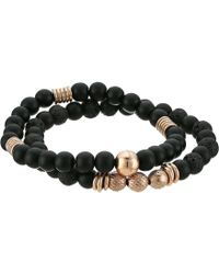 Steve Madden - Textured Lava Stone Bracelet Set (black) Bracelet - Lyst