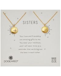 Dogeared - Sisters, Small Star Disc With Crystal, Set Of 2 Necklaces (gold) Necklace - Lyst