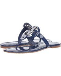 c22e737e7501 Lyst - Tory Burch Rhea Bright Navy Leather Embroidered Flat ...