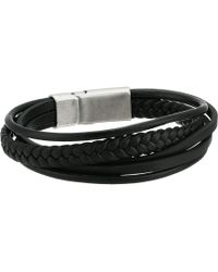 Steve Madden - Faux Leather Braided Multi Strand Bracelet In Stainless Steel (black/silver) Bracelet - Lyst