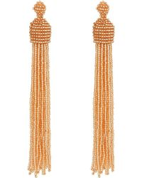Kenneth Jay Lane - Champagne Bead Tassel Direct Post Ear Earrings - Lyst