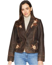 Scully - Connely Embroidered Ladies Leather Jacket (brown) Women's Coat - Lyst
