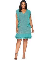 MICHAEL Michael Kors - Plus Size Mini Leo Cascade Dress (black/aqua) Women's Dress - Lyst