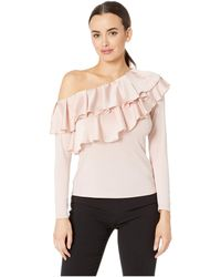 4b63b22d66ab4 Vince Camuto - Long Sleeve Asymmetrical Tiered Ruffle Shoulder Mix Media  Top (rose Buff)