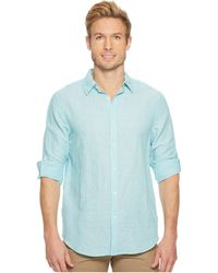 Perry Ellis - Rolled-sleeve Solid Linen Cotton Shirt (colony Blue) Men's Long Sleeve Button Up - Lyst