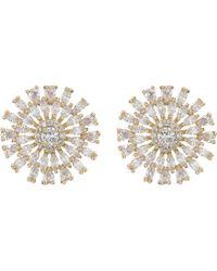 Nina - Geo Flower Cz Stud Earrings (gold/white Cz) Earring - Lyst