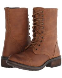 90faf914486 Steve Madden Charrie Combat Booties in Brown - Lyst