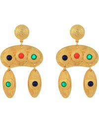 Kenneth Jay Lane - 2.5 Satin Gold Multicolor Cabachon Double Drop Pierced Earrings (satin Gold/multi) Earring - Lyst