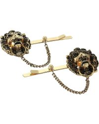 Steve Madden - Two-piece Lion Head Door Knocker Hair Pin (yellow Gold-tone) Brooches Pins - Lyst