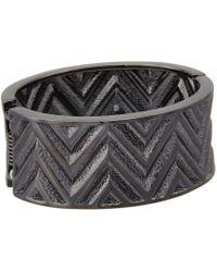 Guess - Chevron Stripe Wide Stretch Bracelet (hematite) Bracelet - Lyst