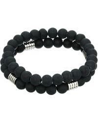 Steve Madden - Polished Bead Duo Bracelet Set In Stainless Steel (black/silver) Bracelet - Lyst