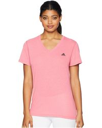 adidas - Ultimate V-neck Tee (real Pink) Women's Short Sleeve Pullover - Lyst