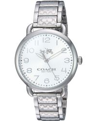 COACH - Delancey 36mm Etched Bracelet Watch (white Sunray/stainless Steel) Watches - Lyst