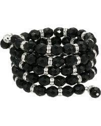 Kenneth Jay Lane - 4 Row Jet/silver/crystal Rhondell Coil Bracelet (jet) Bracelet - Lyst