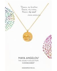 Dogeared - Peace, My Brother Peace... Dove Stone Charm Necklace (gold Dipped) Necklace - Lyst