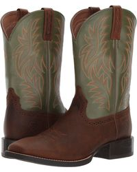 Ariat - Sport Western Wide Square Toe (red Angus Brown/royal) Cowboy Boots - Lyst