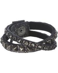 Leatherock - B337 (shimmering Black) Bracelet - Lyst