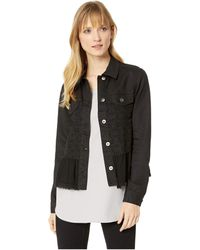 Scully - Karter Denim And Lace Ruffle Jacket (black) Women's Coat - Lyst