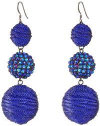 Kenneth Jay Lane | Triple Graduated Blue Ball Fish Hook Ear End Balls Thread Wrap/center Sparkle Wire Earrings | Lyst