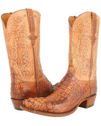 Lucchese - L1331 (tan Burnished Mad Dog Hornback/tan Burnished Mad Dog Goat) Cowboy Boots - Lyst