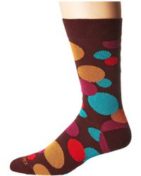 Etro - Large Polka Socks (burgundy) Men's Crew Cut Socks Shoes - Lyst