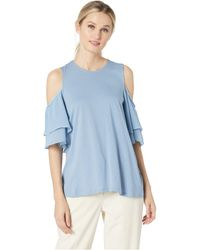 9b4bba10ffede MICHAEL Michael Kors - Georgette Flutter Cold Shoulder Top (chambray)  Women s Clothing - Lyst