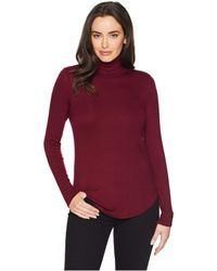 Three Dots - Long Sleeve Luxe Rib Top (white) Women's Clothing - Lyst