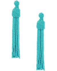 Kenneth Jay Lane | Turquoise Seed Bead Tassel Post Earrings | Lyst