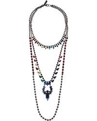 Steve Madden - 3 Layer Rainbow Casted Rhinestone Necklace (multi/gunmetal-tone) Necklace - Lyst