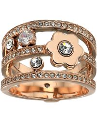 Michael Kors - In Full Bloom Floral And Crystal Accent Stacked Ring (gold) Ring - Lyst