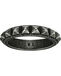 Steve Madden - Stud Textured Band Ring In Oxidized Stainless Steel (silver/black) Ring - Lyst