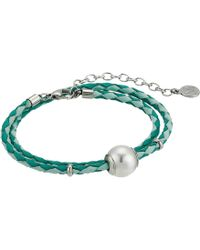 Majorica - 12mm Round Pearl On Double Wrap Leather Bracelet 14-16 (white) Bracelet - Lyst